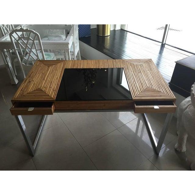 Milo Baughman Bamboo & Chrome Desk - Image 8 of 11