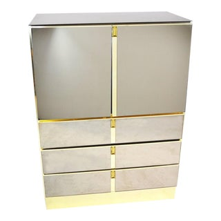 Mid-Century Modern Bronze Mirrored Bar Cabinet by Ello For Sale