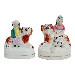 Staffordshire Miniatures w/ Dogs - A Pair