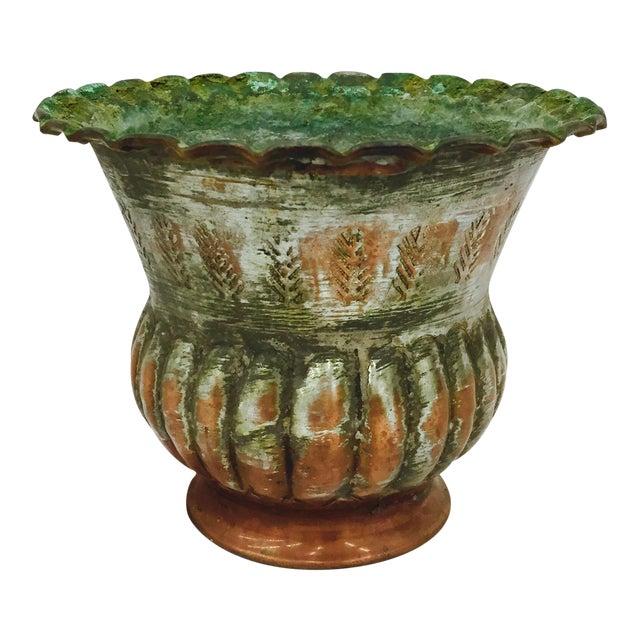 Antique Indian Etched Copper Vase For Sale
