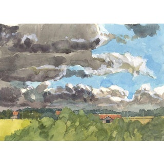 Contemporary Watercolor of French Landscape For Sale