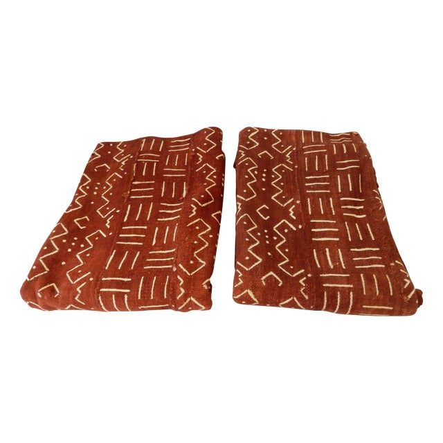 African Chocolate & Ivory Mud Cloth - Pair - Image 1 of 9
