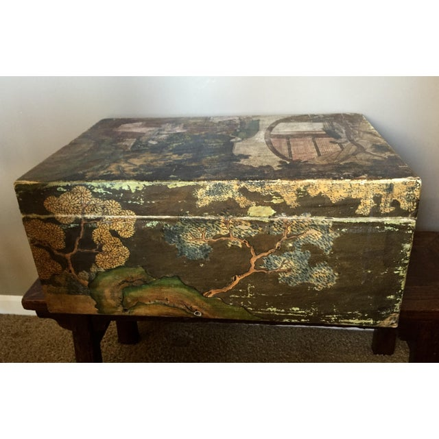 19th-C. Chinese Pigskin Travel Trunk - Image 11 of 11