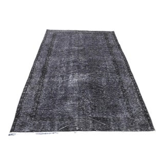 1960s Vintage Turkish Hand-Knotted Gray Rug - 5′2″ × 8′9″ For Sale