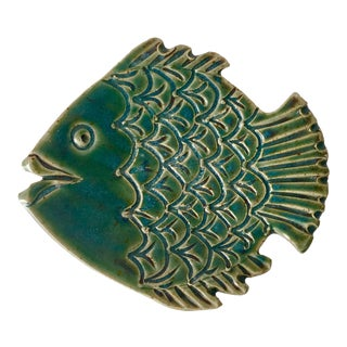 Mid-Century Turquoise Studio Pottery Fish Dish, Signed For Sale