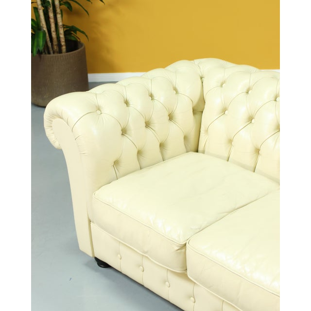 Vintage Beige Leather Chesterfield Sofa For Sale - Image 4 of 8