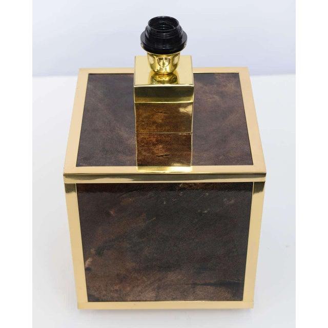 Aldo Tura Goatskin and Brass Table Lamp - Image 7 of 10