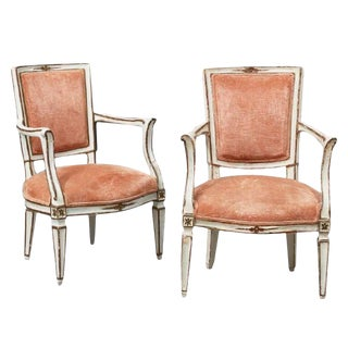 Pair of Italian Neoclassical Polychrome Fauteuils or Armchairs, 19th Century For Sale