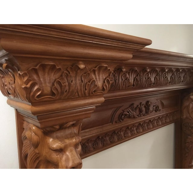 Humongous English Style Custom Carved Wood Lion Mantelpiece For Sale - Image 4 of 13