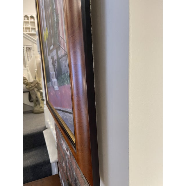 Canvas 2000s Louisburg Square Boston House Portrait Oil Painting by Heather Risley, Framed For Sale - Image 7 of 10