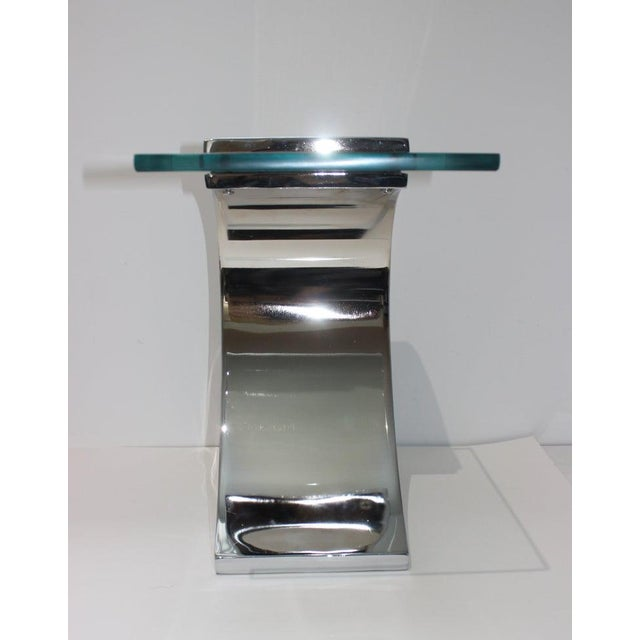 Vintage Drinks Table Wave Form Polished Steel and Glass For Sale - Image 10 of 13