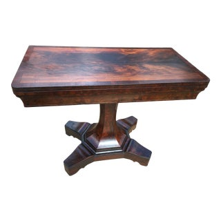 Early 19th Century Pre-Civil War Flaming Storm Mahogany Game Table For Sale