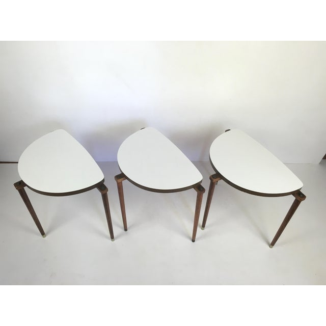 Mid-Century Modern Nesting Tables Half Moon - S/3 For Sale - Image 4 of 8