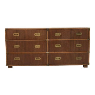 Natural Wood 6 Drawer Campaign Chest by Lane For Sale