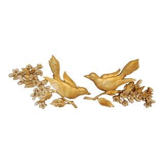 Vintage Syroco Gold Bird Wall Sculptures - A Pair