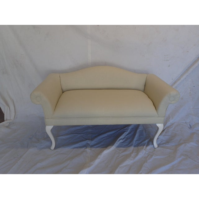 Beautiful vintage french style settee, newly upholstered with soft beige linen and painted in off white / cream legs , no...