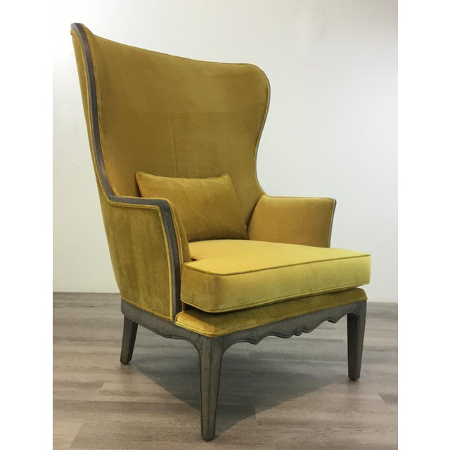 Modern Chartreuse Velvet Wingback Chair For Sale In Atlanta - Image 6 of 6