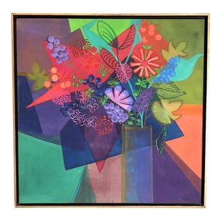 """Large Mid Century Floral Painting """"Royal Bouqet"""""""