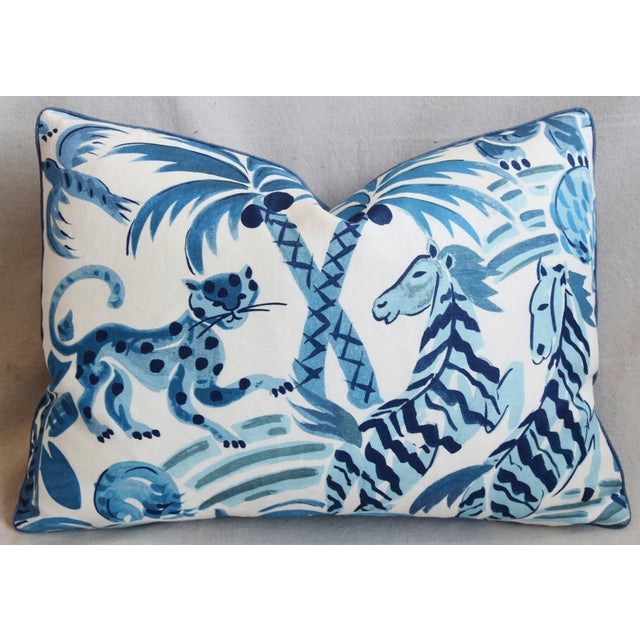 """Blue P. Kaufmann Blue & White Animal Feather/Down Pillow 22"""" X 16"""" For Sale - Image 8 of 9"""