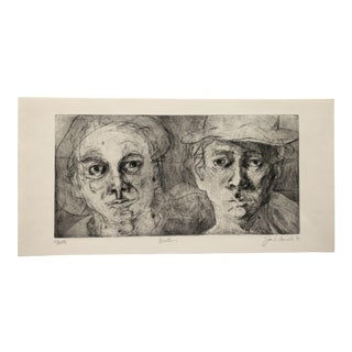 """""""Brothers"""" Etching by Jon Fasenelli-Cawelti, 1981 For Sale"""