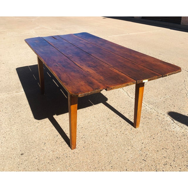 Rustic Barnwood Plank Top Dining Table For Sale - Image 4 of 13