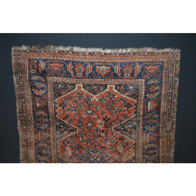 """Distressed Antique Persian Tribal Rug - 3'7"""" X 4'9"""" - Image 3 of 9"""