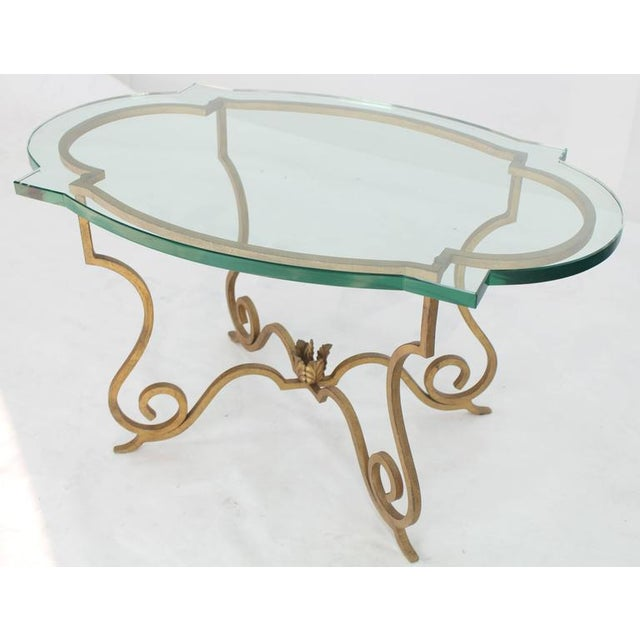 Mid 20th Century Mid Century Vintage Forged Gold Gilt Iron Base Figural Glass Oval Table For Sale - Image 5 of 6
