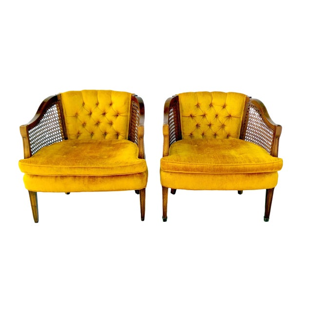 Vintage Gold Sam Moore Cane Barrel Chairs Pair
