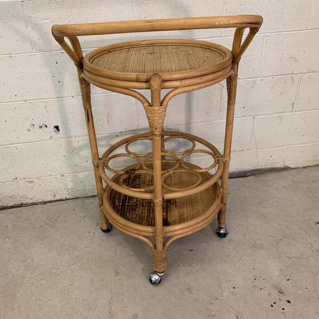 Vintage Bamboo Bar Cart on Casters For Sale - Image 4 of 12