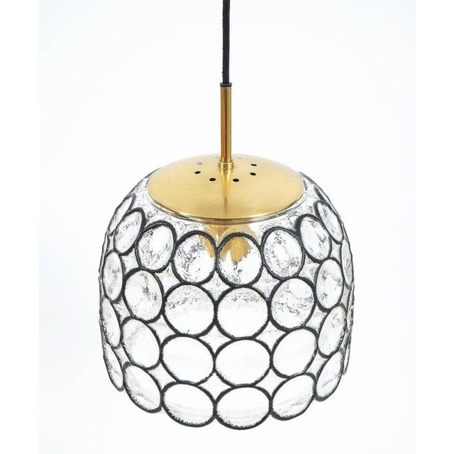 Limburg glass and brass pendant lamp light, Germany, 1960. Beautiful so-called 'iron' and glass bell-shaped pendant...