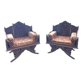 Antique Carved Arm Chairs - a Pair For Sale