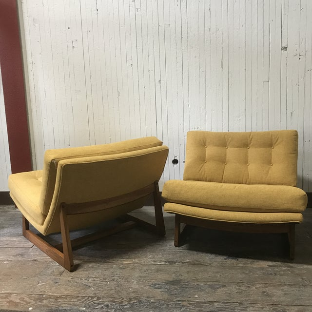 Mid-Century Modern Sled Base Lounge Chairs - A Pair - Image 2 of 11