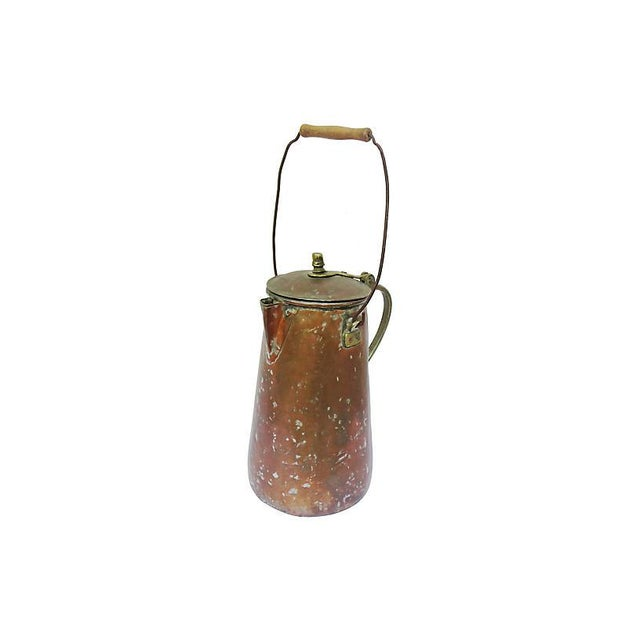 1940s 19th-C. French Copper Coffeepot For Sale - Image 5 of 6