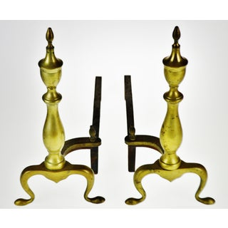 Vintage Puritan Federal Style Brass Andirons - a Pair Preview