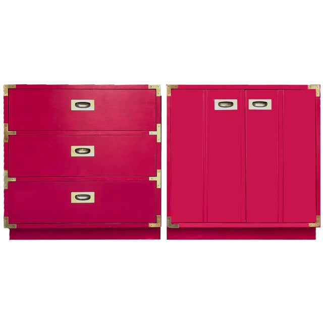 Raspberry Red 1960s Campaign Chest by Lane Furniture - a Pair For Sale - Image 8 of 9