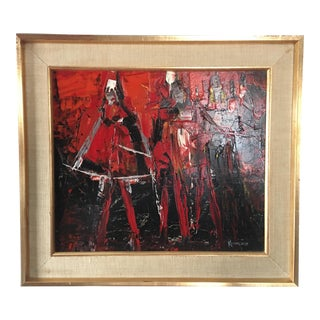 Vintage Abstract Impressionist Oil Painting For Sale