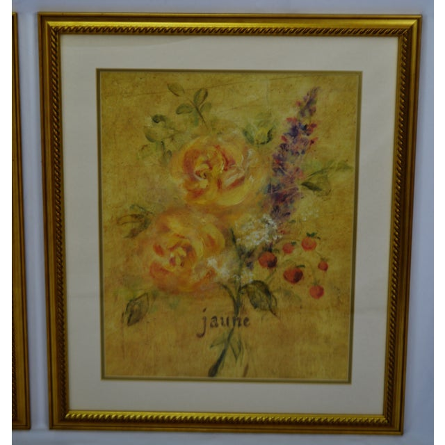 Vintage Framed French Jaune & Blanche Floral Still Life Prints For Sale In Philadelphia - Image 6 of 13