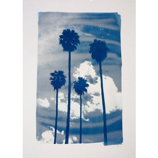Miami Sunset With Palms, Handmade Cyanotype Print, Limited Edition For Sale