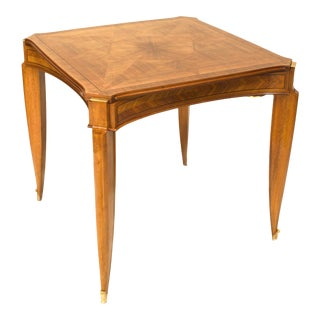 French Art Deco Pascaud Light Mahogany Game Table For Sale