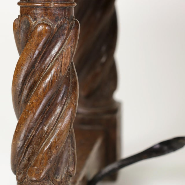 Iron Italian Walnut Low Table with Carved Barley Twist Legs and Twisted Iron Cross Stretchers, Circa 1800 For Sale - Image 7 of 13
