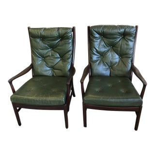 Vintage Rosewood Green Leather Lounge Chairs - A Pair For Sale