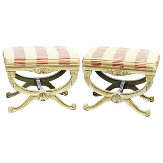Distressed Cream Painted Cerule Tufted Stools - A Pair For Sale