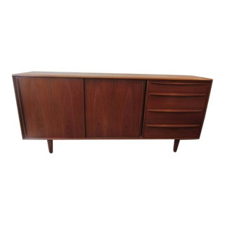 Danish Teak Credenza with Drawers and Sliding Doors
