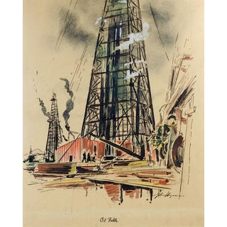 Texas Oil Field Lithograph For Sale