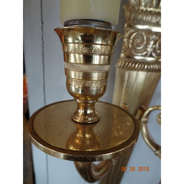 Bronze Pair of 19th Century Bronze Sconces For Sale - Image 7 of 10