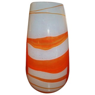 Art Glass Vase Orange Swirl For Sale