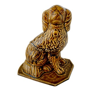 Antique Staffordshire Spaniel Dog Figurine Brown For Sale