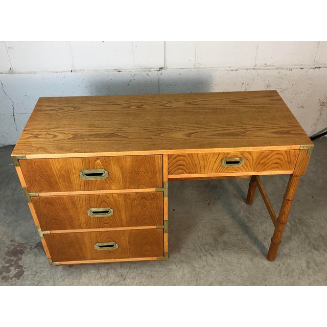 1970s 1970s Dixie Oak Wood Campaign & Bamboo Style Desk For Sale - Image 5 of 10