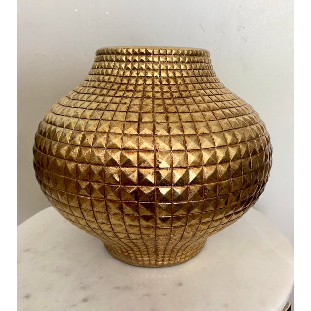 Contemporary Contemporary Modern Round Full Gilt Gold Color Metallic Fiberglass Unbreakable Vase For Sale - Image 3 of 4