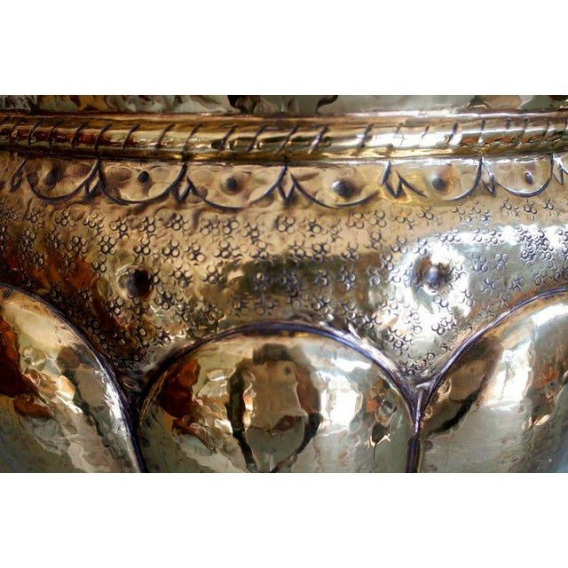 A Very Decorative Italian Potbellied Cachepot With Swirled Gadrooning and a Variety of Punch Work Patterns, the Nicely...